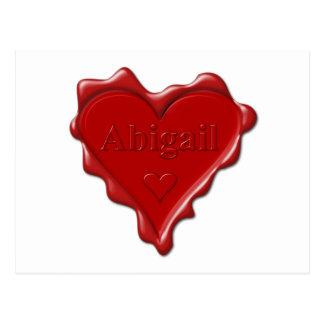 Carte Postale Abigaïl. Joint rouge de cire de coeur avec Abigaïl