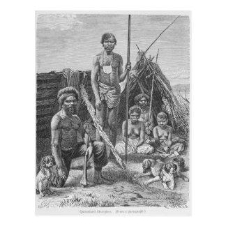 Carte Postale Aborigènes du Queensland gravés d'une photographie