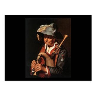 Carte Postale Abraham Bloemaert le joueur de cornemuse