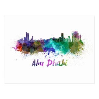Carte Postale Abu Dhabi skyline in watercolor
