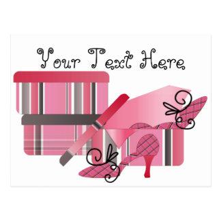 Carte Postale Achats de chaussure dans le rose et le gris