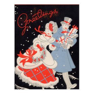 Carte Postale Achats victoriens vintages de Noël de couples