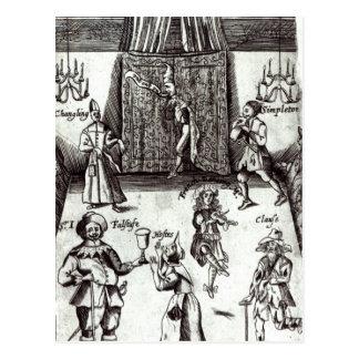 Carte Postale Acteurs comiques dans la représentation, 1662
