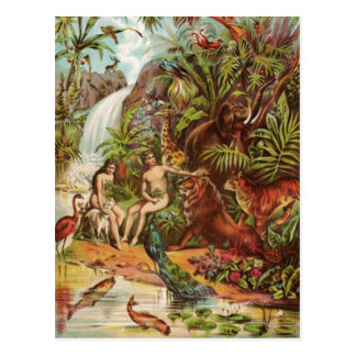 Carte Postale Adam et Ève dans le jardin