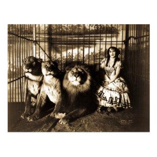 Carte Postale Adjie et le cirque de cru de lions