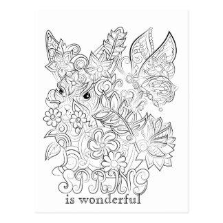 Carte postale adulte de coloration de lapin et de