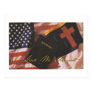 Carte Postale Affichage de la Sainte Bible, et le drapeau des