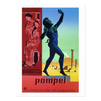 Carte Postale Affiche italienne vintage de voyage de Pompeii