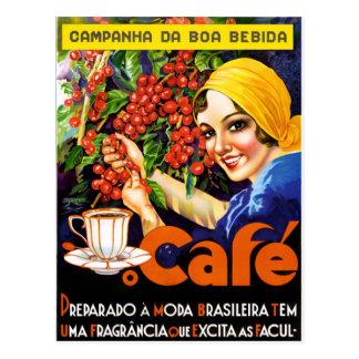 Carte Postale Affiche vintage d'annonce de café de Bebida de boa