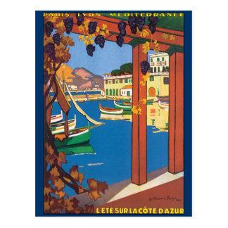 Carte Postale Affiche vintage de la Côte d'Azur de voyage