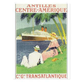 Carte Postale Affiche vintage de voyage d'Amerique de centre des