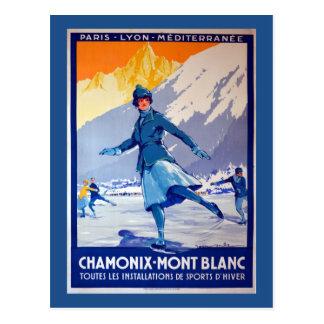 Carte Postale Affiche vintage de voyage de Chamonix, Suisse