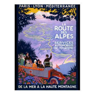 Carte Postale Affiche vintage de voyage de DES Alpes