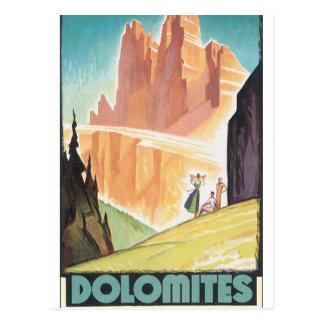 Carte Postale Affiche vintage de voyage de dolomites