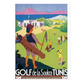 Carte Postale Affiche vintage de voyage de Golf de La Soukra
