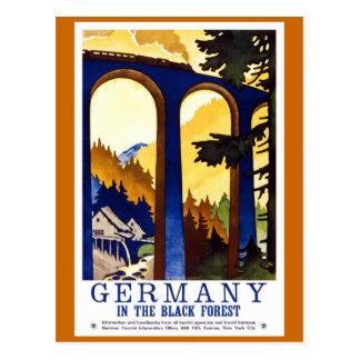 Carte Postale Affiche vintage de voyage de la forêt noire de