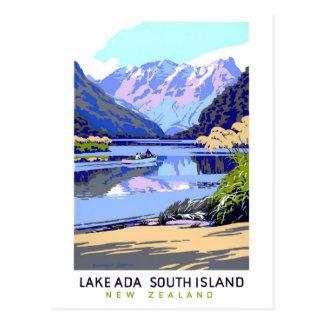 Carte Postale Affiche vintage de voyage de la Nouvelle Zélande