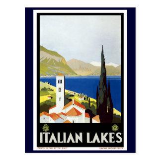"""Carte Postale Affiche vintage de voyage """"de lacs italiens"""""""