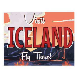 Carte Postale Affiche Vintage De Voyage LIslande Visite