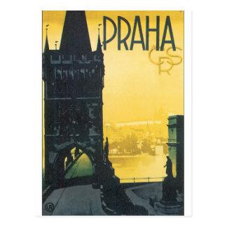 Carte Postale Affiche vintage de voyage de Praha