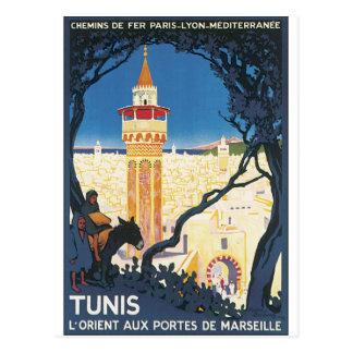 Carte Postale Affiche vintage de voyage de Tunis