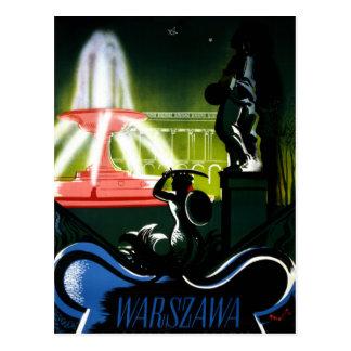Carte Postale Affiche vintage de voyage de Varsovie Pologne