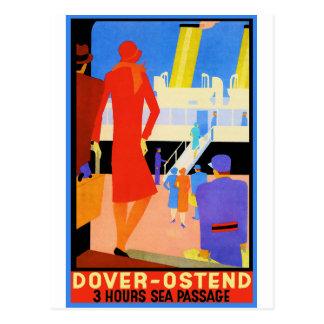 Carte Postale Affiche vintage de voyage : Douvres Ostende
