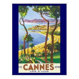 Carte Postale Affiche vintage de voyage, plage à Cannes, France