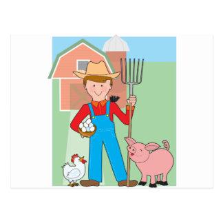 Carte Postale Agriculteur et porc