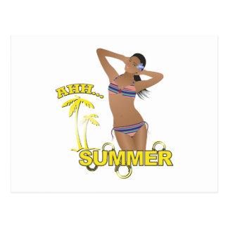 Carte Postale Ahh fille de bikini de plage d'été