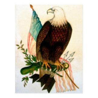 Carte Postale Aigle chauve avec le drapeau
