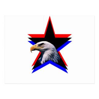 Carte Postale Aigle chauve et l'étoile trois