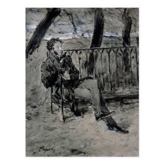 Carte Postale Alexandre Pushkin en parc, 1899