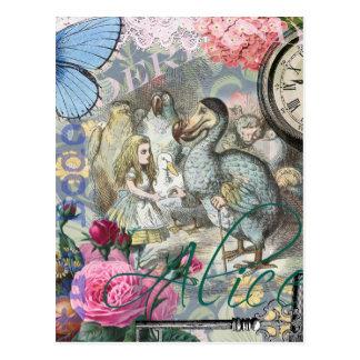 Carte Postale Alice en collage d'oiseau de dronte du pays des