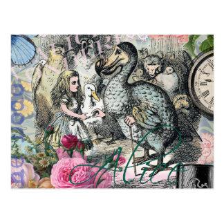 Carte Postale Alice en collage vintage de dronte du pays des