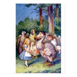 Carte Postale Alice et la dronte dans polychrome