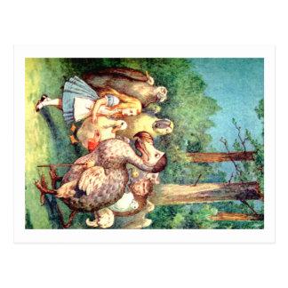 Carte Postale Alice et l'oiseau de dronte au pays des merveilles