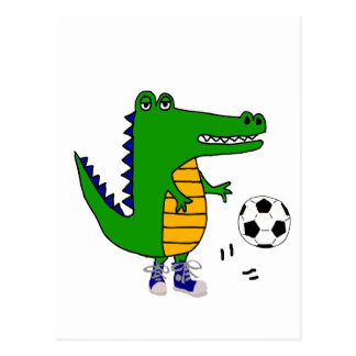 Carte Postale Alligator mignon jouant la bande dessinée du
