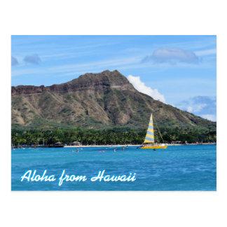 Carte Postale Aloha océan principal de plage d'Hawaï Duamond
