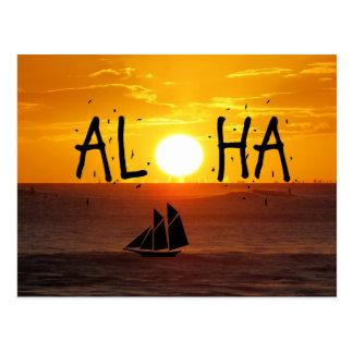Carte Postale Aloha voilier d'océan de coucher du soleil d'Hawaï