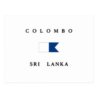 Carte Postale Alpha drapeau de piqué de Colombo Sri Lanka