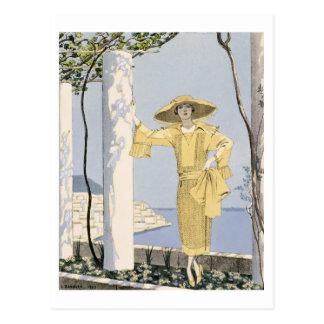 Carte Postale Amalfi, illustration d'une femme dans une robe
