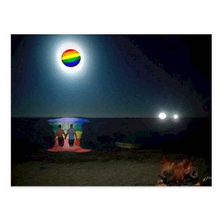 Carte Postale Amants sous la lune de gay pride