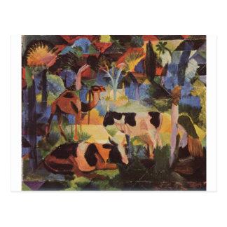 Carte Postale Aménagez en parc avec des vaches et un chameau