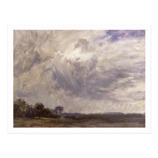 Carte Postale Aménagez en parc avec le ciel venteux gris,