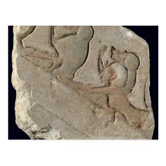 Carte Postale Amenophis IV avec des babouins, nouveau royaume