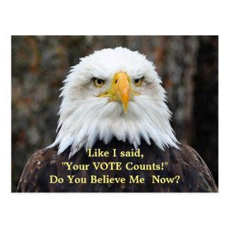 Carte postale américaine de VOTE d'Eagle chauve de