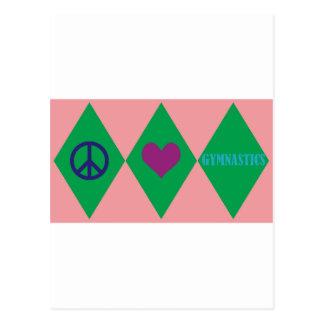 Carte Postale Amour de paix et Jacquard de gymnastique