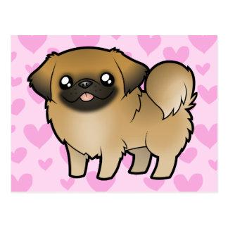 Carte Postale Amour de Pekingese (chiot coupé)