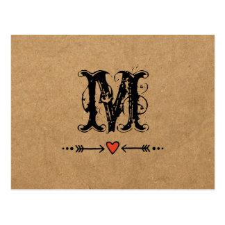 Carte Postale Amoureux et monogramme de flèches